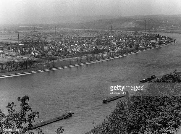 View at the city Koblenz seen from the Rhine side, barges on the water - about 1935 Vintage property of ullstein bild