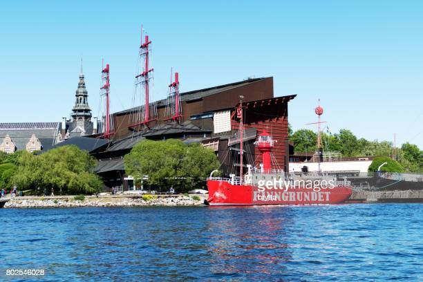 view at the famous stockholm vasa museum from the water - vasa ship stock pictures, royalty-free photos & images