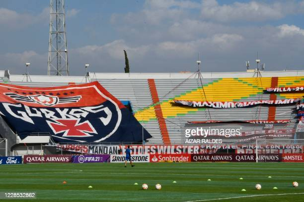 View at the Felix Capriles stadium before the start of the closed-door Copa Libertadores group phase football match between Bolivia's Wilstermann and...