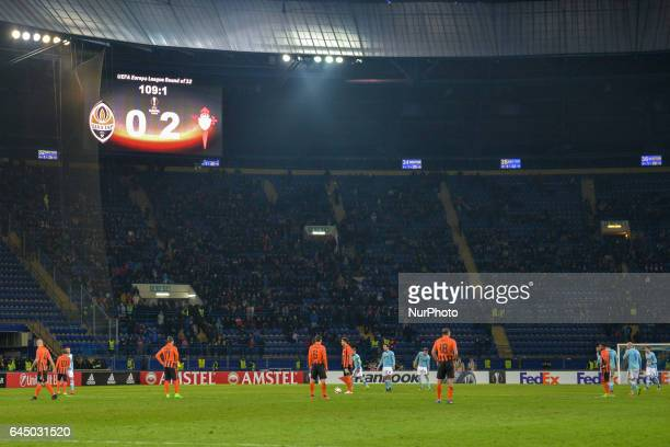 View at the field during the Europa League Round of 32 reverse match between Shakhtar and Celta at Metalist Stadium on February 23, 2017 in Kharkiv,...