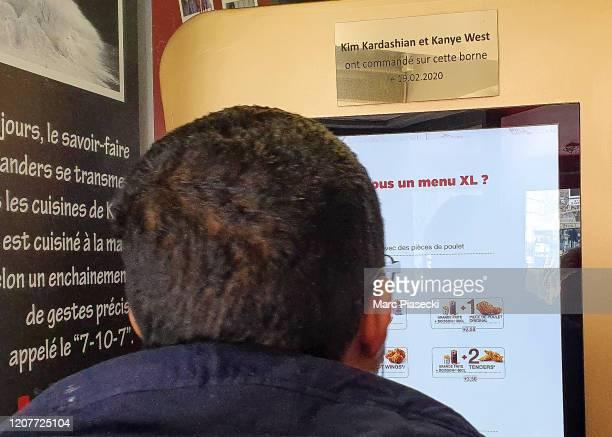 View at the KFC restaurant Paris Strasbourg Saint Denis kiosk where Kim Kardashian West and husband Kanye West ordered on February 21, 2020 in Paris,...