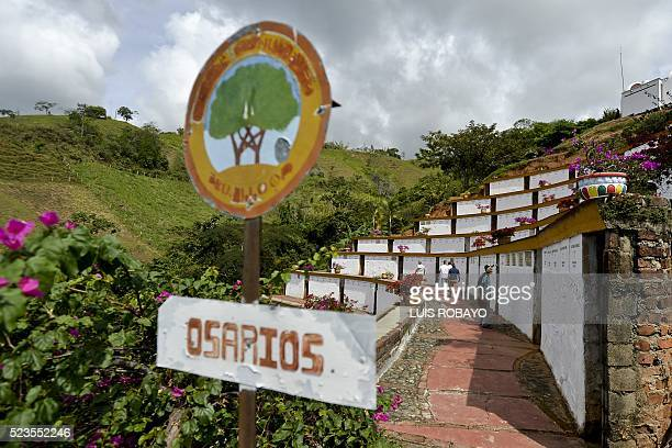 View at the ossuaries with the remains and belongings of victims of the massacre of Trujillo on April 23 in Trujillo Valle del Cauca department...