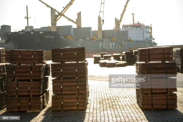 View at the port of Antofagasta Chile where copper powder concentrate is loaded and unloaded and whose waste scatters throughout the city on March 9...