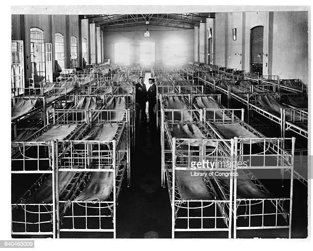 A view at the rows of beds in the Women's Dormitory at Hotel de Inmigrantes in Buenos Aires which functioned as Argentina's Ellis Island