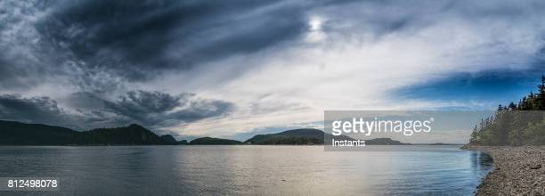 a view at the  saint lawrence river in beautiful parc national du bic, which is part of parcs québec network, in the bas saint-laurent (lower saint lawrence) region. - river st lawrence stock pictures, royalty-free photos & images
