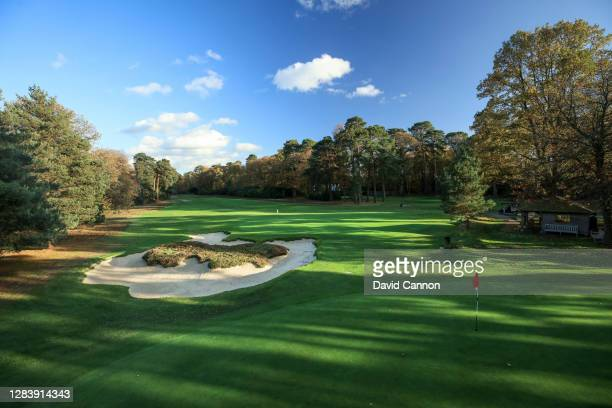 View behind the green over the 'doghnut' bunker on the par 3, seventh hole from the 13th green at New Zealand Golf Club on November 03, 2020 in...
