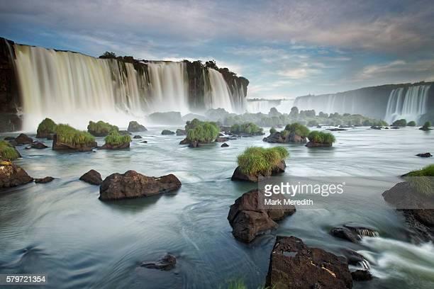 View beneath Floriano Falls at Iguazu Falls in Brazil