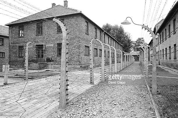 view between fencing to prisoner block, birkenau concentration camp, auschwitz, poland - birkenau stock pictures, royalty-free photos & images