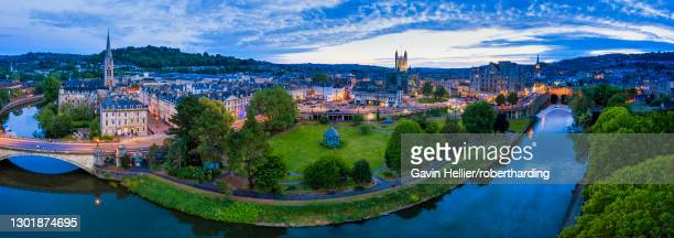 view by drone of bath city center and river avon, somerset, england, united kingdom, euruope - gavin hellier stock pictures, royalty-free photos & images