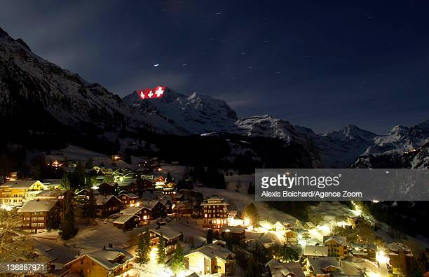 View by night of Wengen during the Audi FIS Alpine Ski World Cup Men's Downhill training on January 12 2012 in Wengen Switzerland