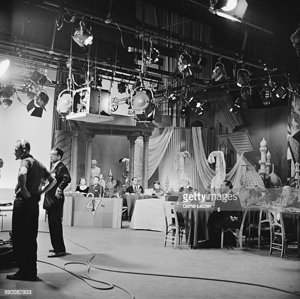 View celebrities and crew during the filming of the 27th Academy Award nominations event Burbank California February 12 1955 Among those visible are...