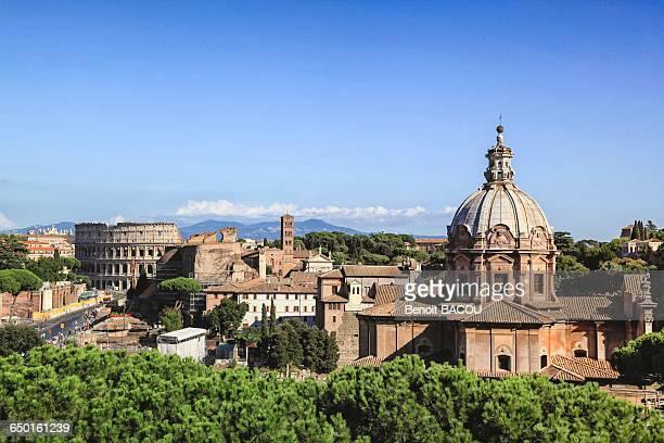 View: Church Santi Luca e Martina, Titus Arch, Palatine, Santa Francesca Romana, Basilica of Maxentius, Coliseum, Basilica of St John Lateran, Rome, Lazio, Italy