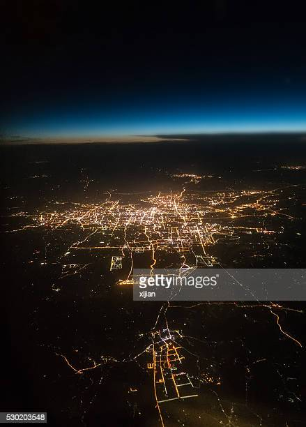 View city night  from the window of an airplane