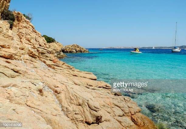 View coast of the island Spargi in Sardinia, southern Italy.