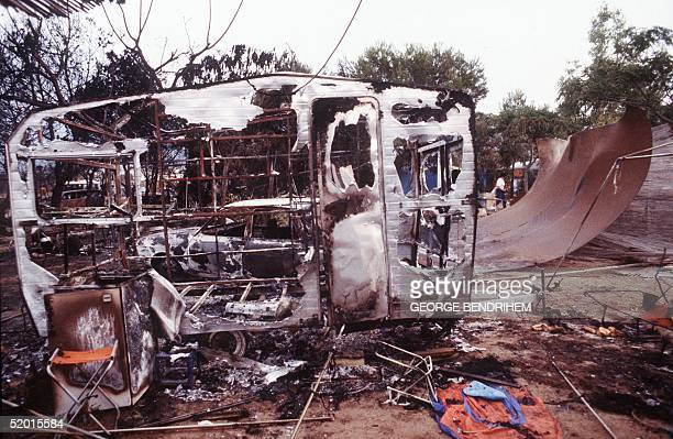 A view dated 12 July 1978 of a burnt out camping car of Los Alfaques campsite devastated at 03 pm 11 July 1978 by a propane gas explosion after a...
