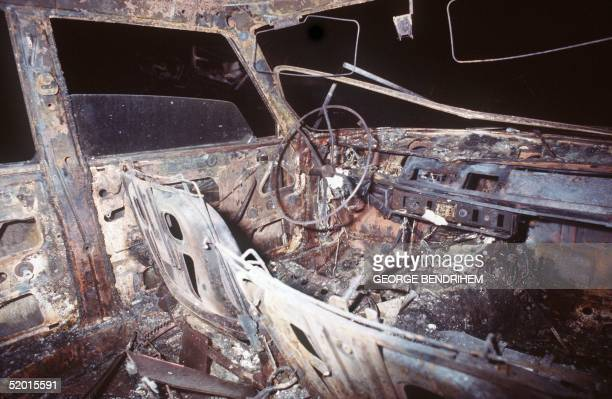 A view dated 12 July 1978 of a burnt out car of Los Alfaques campsite devastated at 03 pm 11 July 1978 by a propane gas explosion after a truck...