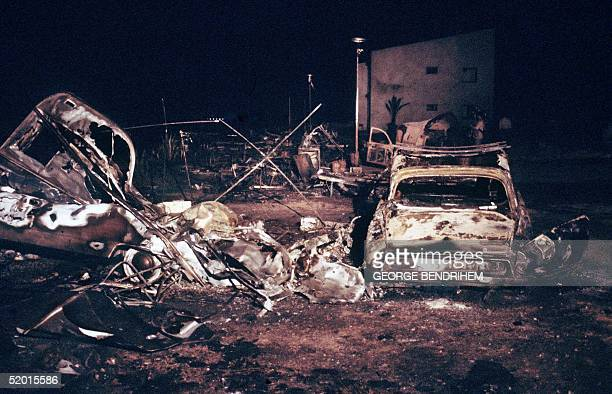 A view dated 12 July 1978 of a burnt out French cars and tents of Los Alfaques campsite devastated at 03 pm 11 July 1978 by a propane gas explosion...