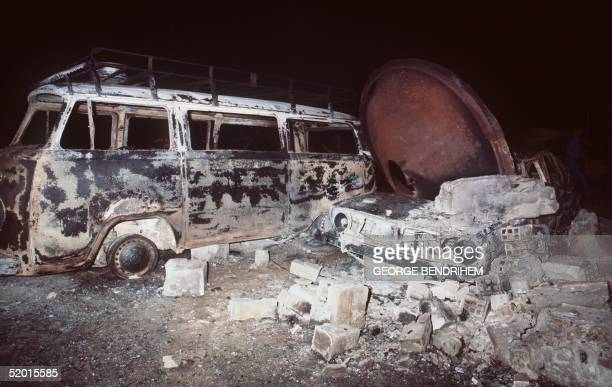 A view dated 12 July 1978 of a burnt out mini van of Los Alfaques campsite devastated at 03 pm 11 July 1978 by a propane gas explosion after a truck...