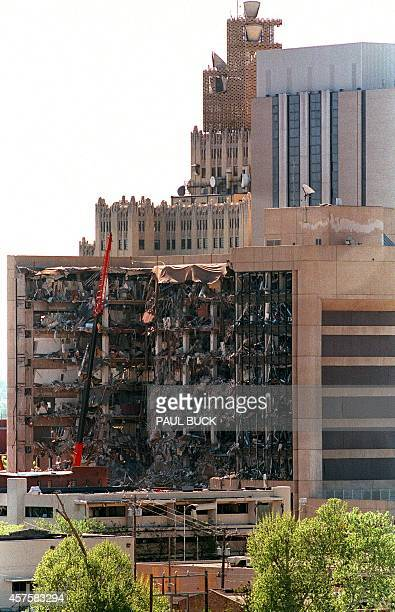 A view dated 20 April 1995 of the west side of the Albert P Murrah Federal Building in Oklahoma City one day after a fueland fertilizer truck bomb...