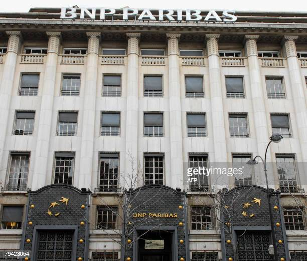 """View dated 31 January 2008 of the front of one of the buildings of France's top bank BNP Paribas headquarters in Paris. BNP is """"thinking"""" about a..."""