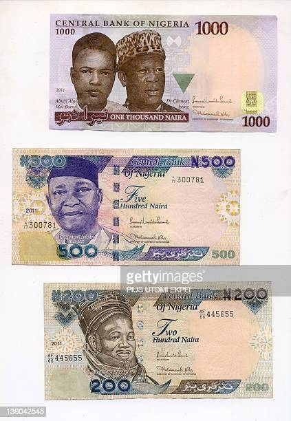 View dated on December 21 2011 in Lagos show Nigerian bank notes the Naira in different denominations AFP PHOTO / PIUS UTOMI EKPEI