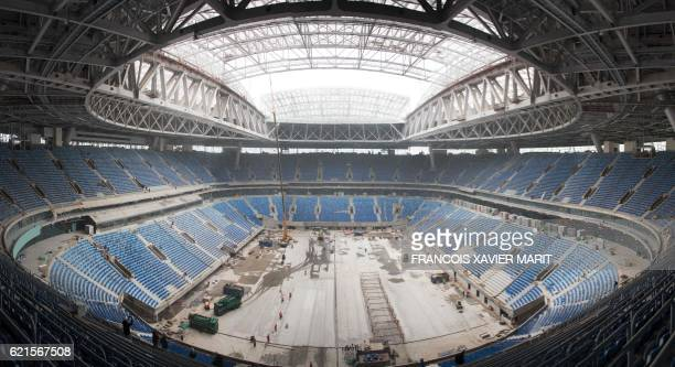 View dated on October 3 2016 shows the SaintPetersburg Stadium during constructions works ahead of the World Cup 2018 football tournament / AFP PHOTO...