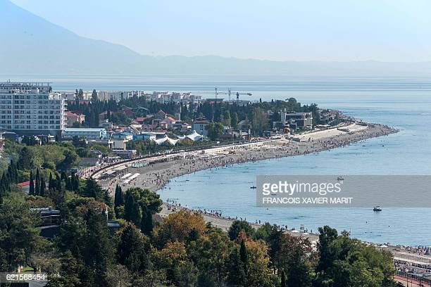 View dated on October 5 2016 taken from the Fisht Stadium Stadium in Sochi shows the coast ahead of the World Cup 2018 football tournament The...