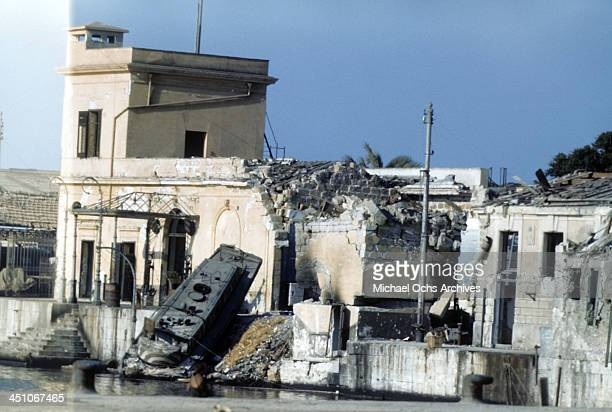 A view destruction 5 days after Allied forces won the campaign to invade Sicily called Operation Husky during the World War II in Palermo Sicily Italy