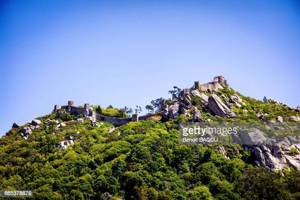 view dive against the moorish castle, sintra, lisbon area, portugal - sintra stock pictures, royalty-free photos & images
