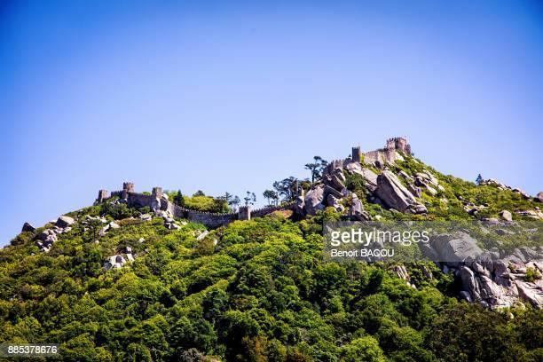 view dive against the moorish castle, sintra, lisbon area, portugal - sintra fotografías e imágenes de stock