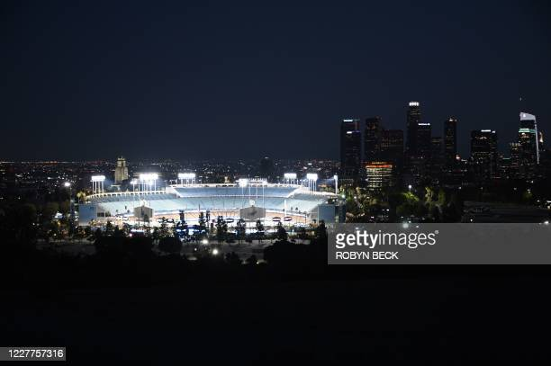View Dodgers Stadium as the Los Angeles Dodgers play the San Francisco Giants in an empty stadium on the opening day of the coronavirus-abbreviated...