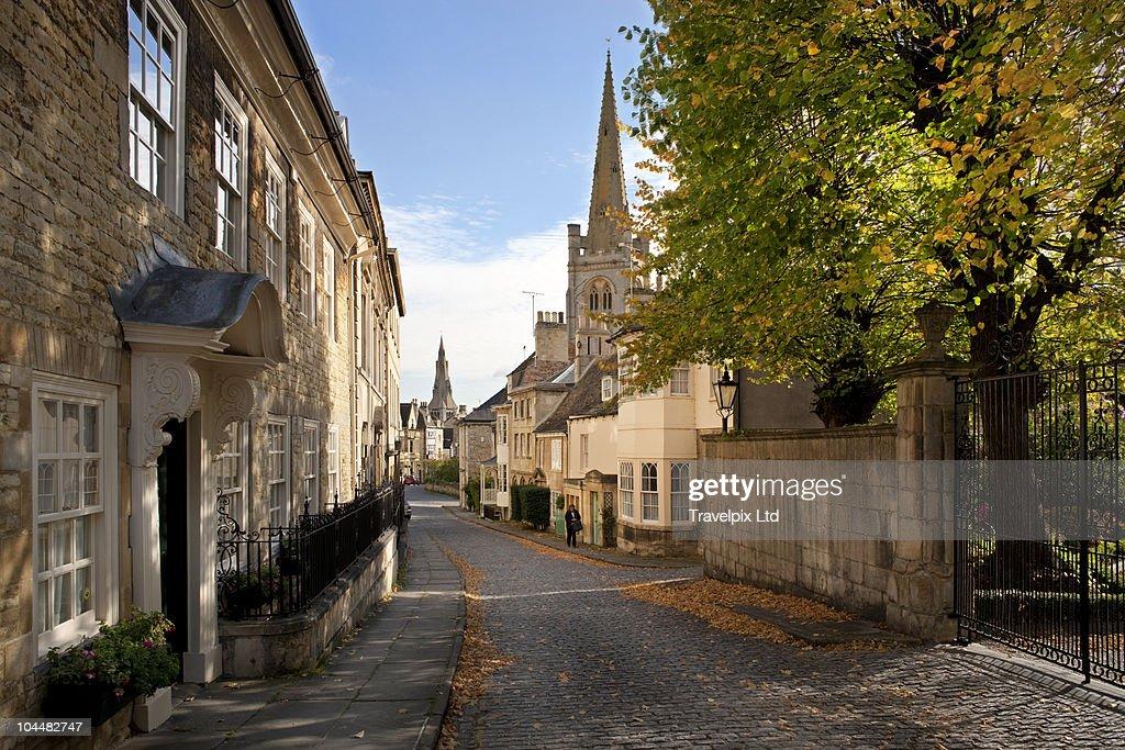View down Barn Hill, Stamford, Lincolnshire : Stockfoto