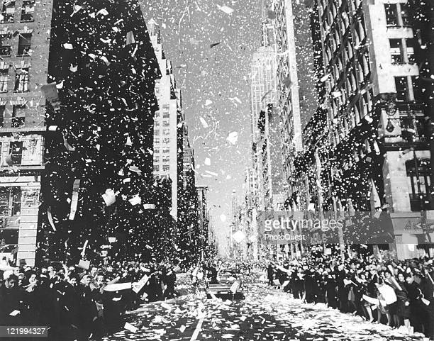 View down Broadway of the ticker tape parade that greeted astronaut John Glenn Jr's motorcade in honor of his MercuryAtlas 6 space mission New York...