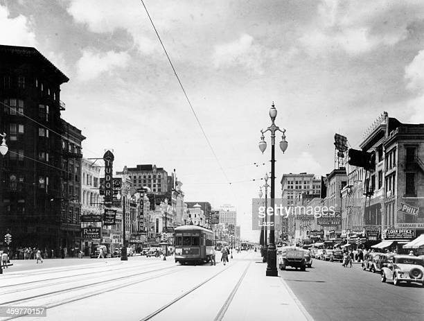 View down Canal Street in New Orleans, Louisiana. Circa 1900.