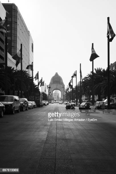 view down city street - mexico black and white stock pictures, royalty-free photos & images