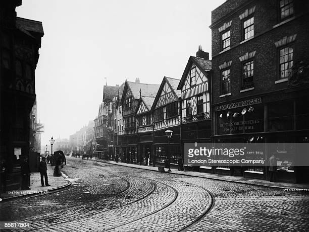 A view down Eastgate Street in the town of Chester Cheshire circa 1880