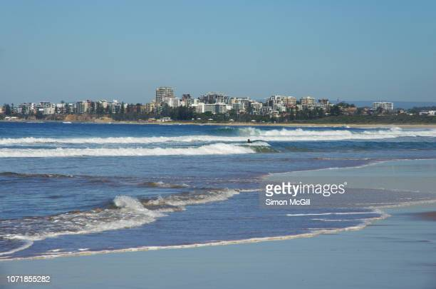 view down fairy meadow beach to north wollongong, new south wales, australia - wollongong stock pictures, royalty-free photos & images