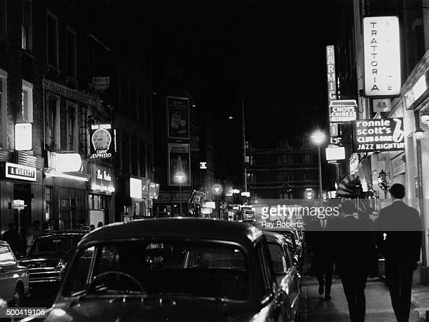 A view down Frith Street looking south towards Shaftesbury Avenue Soho London August 1966On the right is Ronnie Scott's Jazz Club at 47 Frith Street