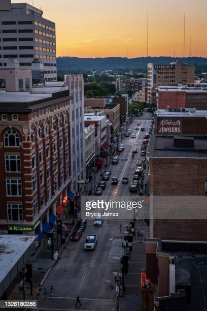 view down gay street in knoxville from above - brycia james stock pictures, royalty-free photos & images