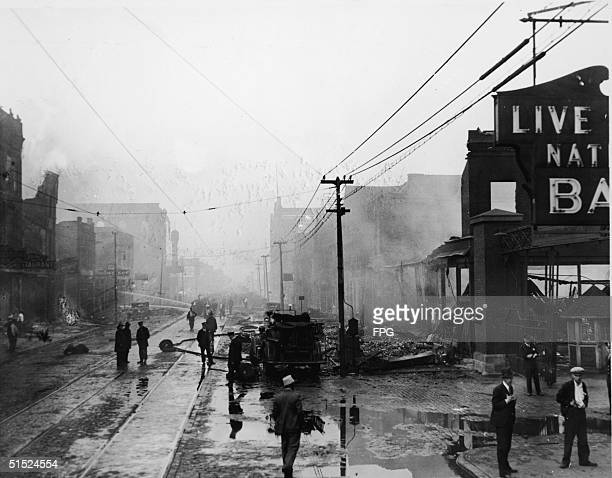 View down Halsted Street of the aftermath of a stockyard fire that destroyed 8 blocks and resulted in more than $4 million in damages Chicago...