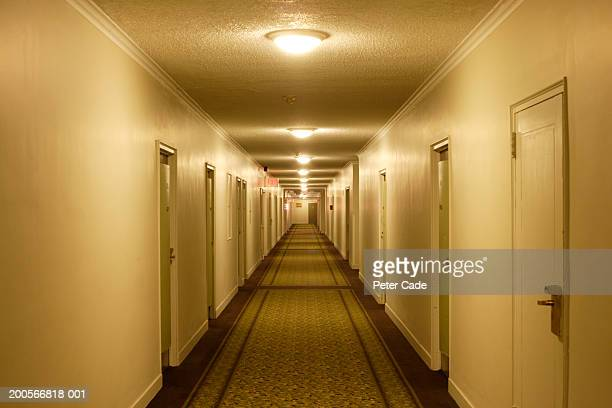 view down hotel corridor with illuminated lamps on ceiling - couloir photos et images de collection