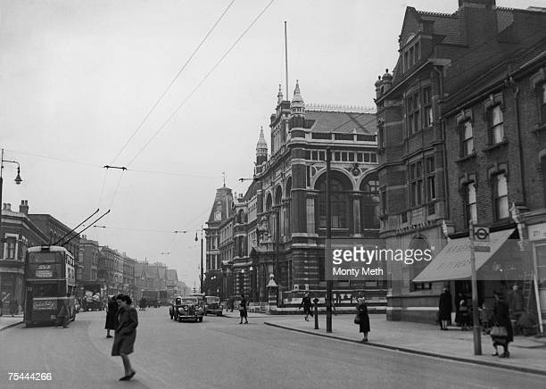 A view down Leyton High Road in Leyton east London showing the Town hall and public library 9th January 1948