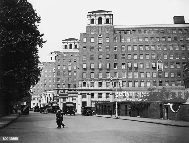 A view down Park Lane London towards the newlybuilt Grosvenor House Hotel 31st July 1929