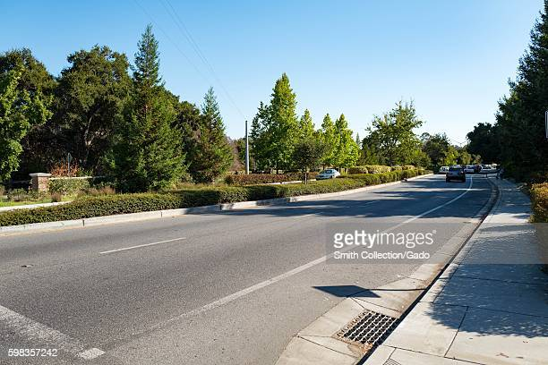 View down Sand Hill Road in the Silicon Valley town of Menlo Park California August 25 2016 In Silicon Valley culture Sand Hill Road is used as a...