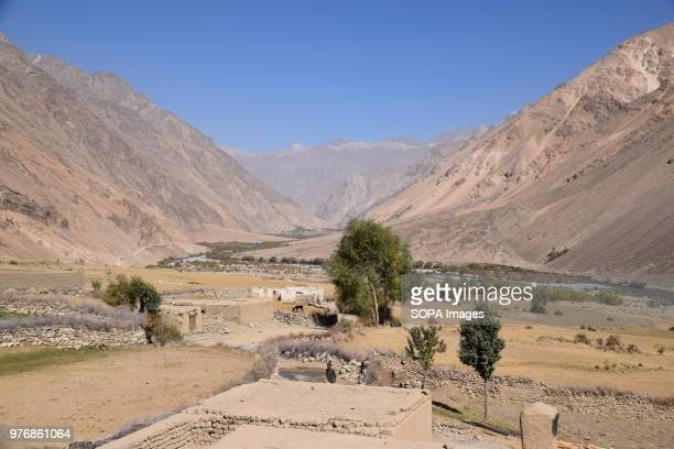 View down the Kukcha valley towards the lapis lazuli mines, village of Parwara. Over the past years the government embargoed what it deems to be...