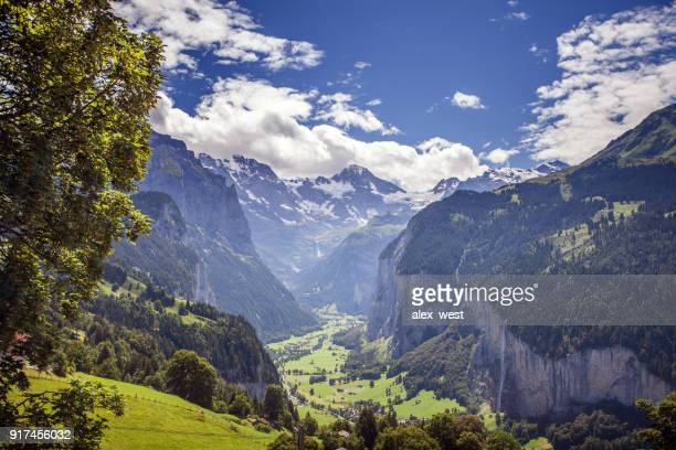A View down the Lauterbrunnen Valley.