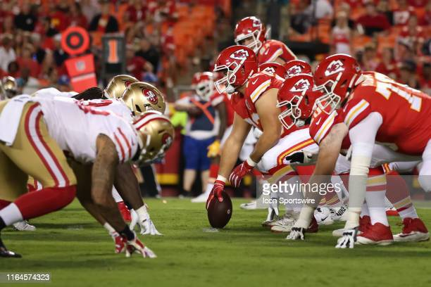 A view down the line of scrimmage before the snap during an NFL preseason game between the San Francisco 49ers and Kansas City Chiefs on August 24...