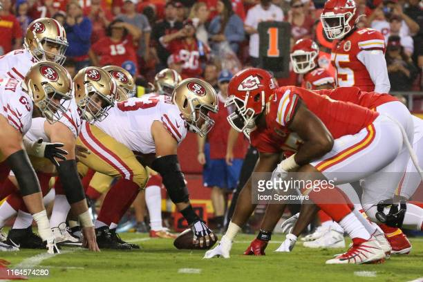 A view down the line of scrimmage before the snap in the first half of an NFL preseason game between the San Francisco 49'ers and Kansas City Chiefs...