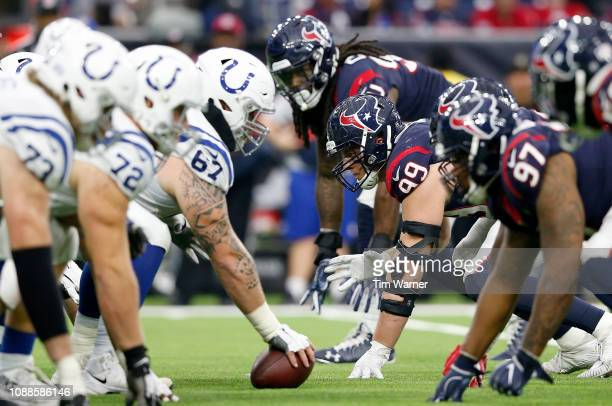 A view down the line of scrimmage in the second half of the game between the Houston Texans and the Indianapolis Colts at NRG Stadium on December 9...