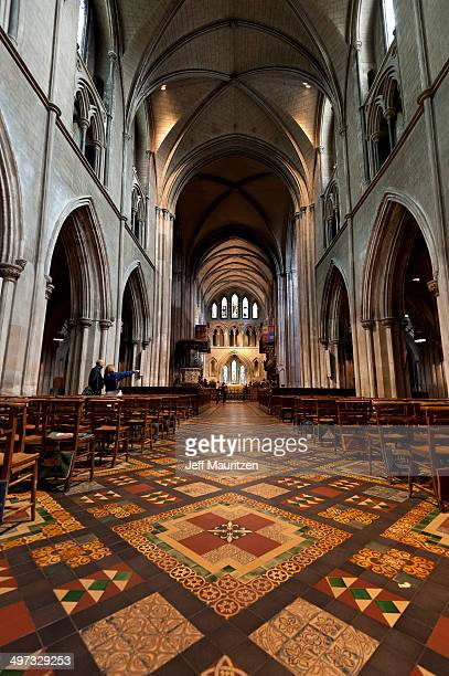 A view down the nave to the altar in St. Patrick's Cathedral.